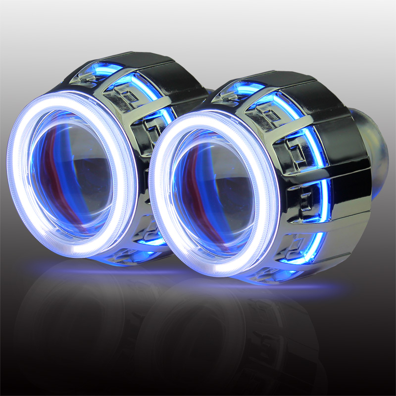 3.0 inches Double Angel Eye Conversion Kit H1 H4 H7 9005 9006 bi xenon HID projector lens in car light source 35w ccfl angel h1 h49005 9006 3 inch bi xenon h7 hid projector parking h4 in car light source