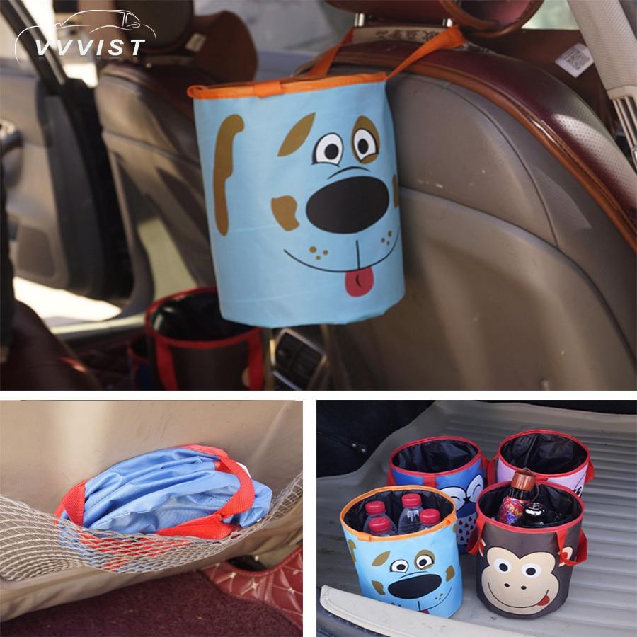 2018 VVVIST  Car Trash Bin Auto Organizer Storage Box Car Trash Can Rubbish Garbage Holder Seat Back Bag Bucket Accessories
