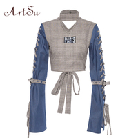 ArtSu Fashion Vintage Lace Up Long Sleeve Shirt Women Turtleneck Crop Top Funny T shirt Denim Tops Streetwear ASTS20648