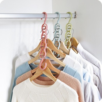 LASPERAL Multifunction Circle Clothes Hanger Clothes Drying Rack Plastic Scarf Hangers for clothes Layer Storage Racks Wardrobe