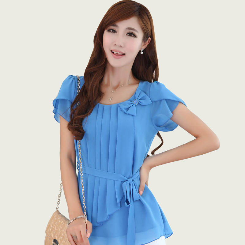2013 xiaxin loose chiffon shirt slim gentlewomen plus size chiffon top o-neck short-sleeve chiffon shirt