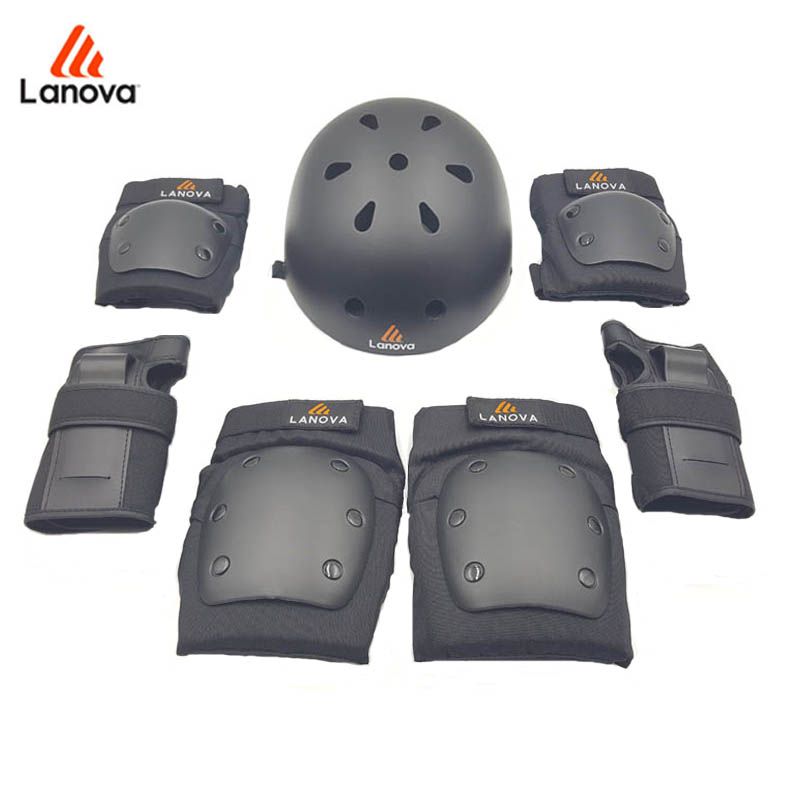 LANOVA 7pcs/Set Skate Protective Gear Knee Elbow Pads Wrist Protection Skate Helmet For Scooter Cycling Roller For Adults 4 Size