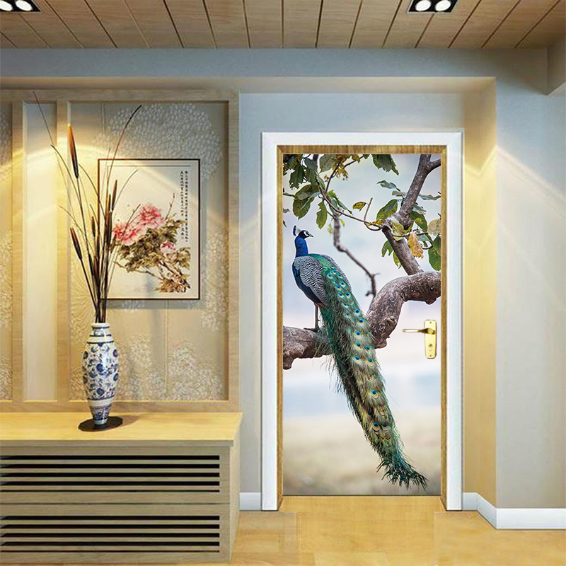 3d Vivid Colourful Animals Peacock On Branch Feathers Door Stickers Wallpaper Decals Art Decal Poster Animals Home Decor