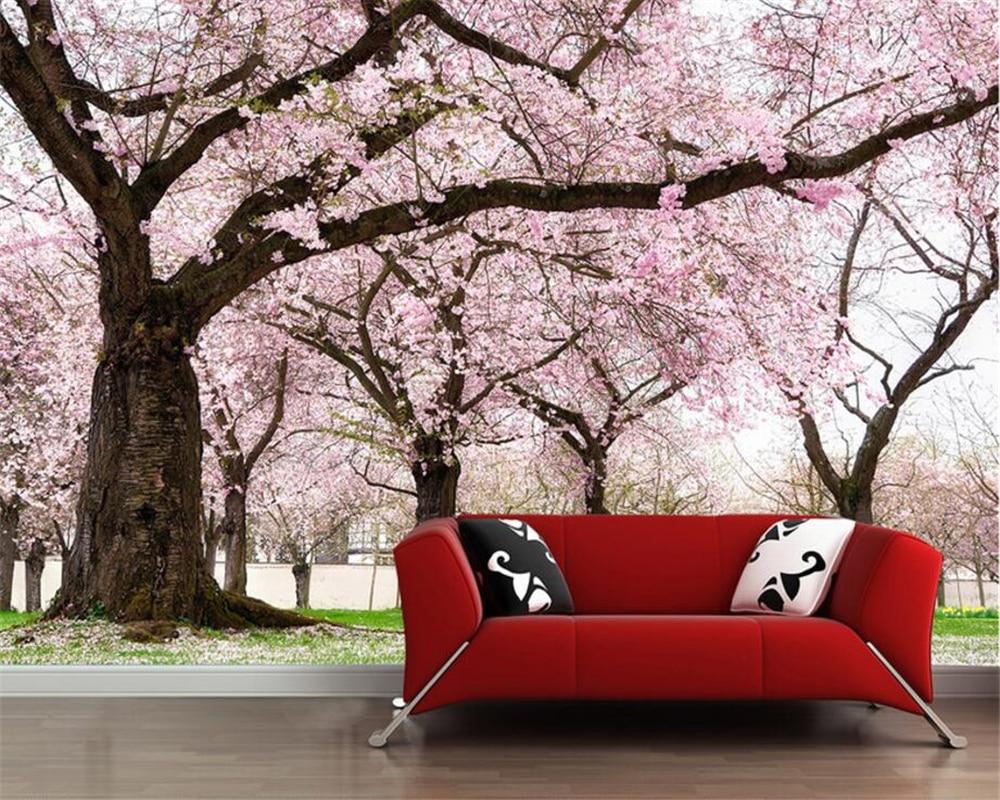 Beibehang Custom Wallpaper First Love Feeling Romantic Cherry Tree