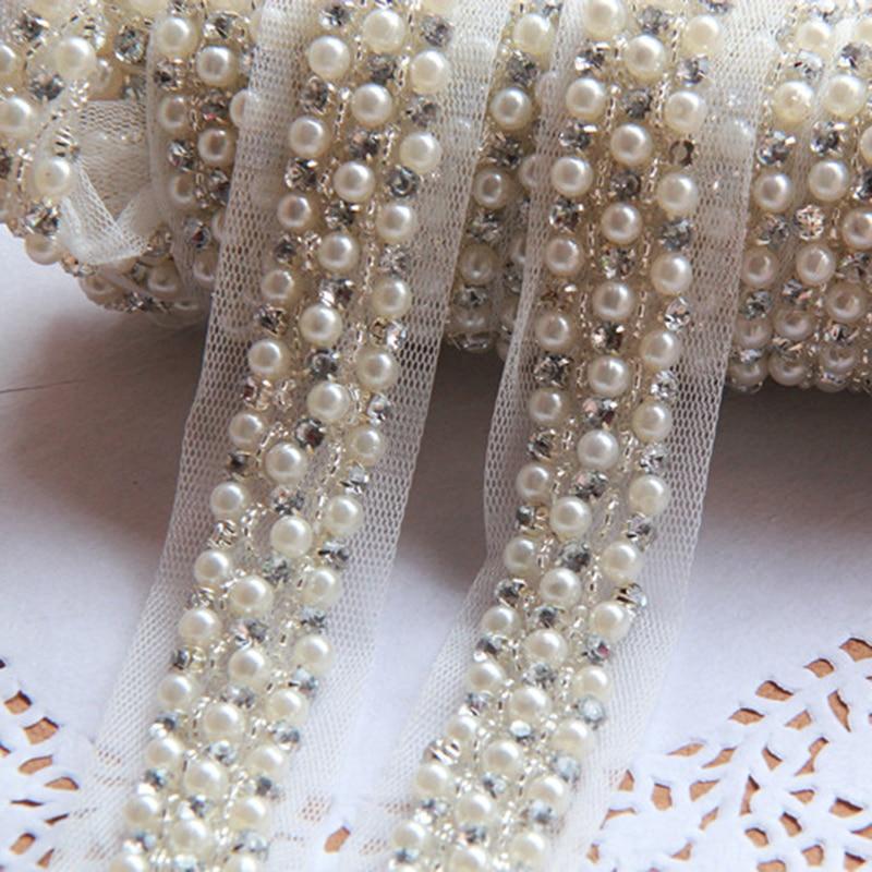 5 yardů 2 cm Fake Pearl Beaded Lace Trim Vintage síťovina Fabric drahokamu Trim Ozdoba Applique pro příslušenství YYN363
