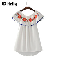 LD Helly Womens Elegant White Cute Blue Fur Balls Dress Embroidery Off The Shoulder Ruffle Vestidos