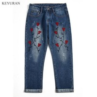 Summer New Women Nine Flower Embroidered Harem Jeans Women Casual Loose Denim Pants Large Size Trousers XXL 3XL 4XL 5XL L1244