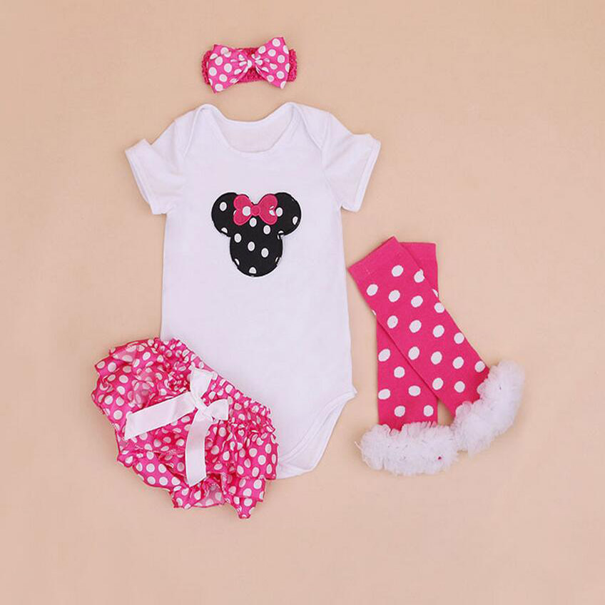 4PCs per Set Newborn Baby Girls Animal Outfit Hot Pink Polka Dots Satin Shorts Headband Leggings for 0-24Months