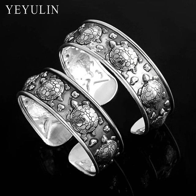Ethnic Style Gypsy Tribal Vintage Tibetan Silver Color Tortoise Cuff Bracelet Bangle For Women Bohemia