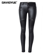 davidyue 2018 winter Sexy Pu Leather Black Zipper Stretch Bodycon Pleated Patchwork
