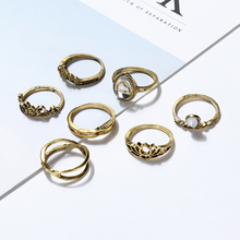 XIYANIKE 2017 Hot Sale 7 Pieces/Lot Hollow Natural Stone Water Droplets Knuckle Rings Silver Midi Rings Sets For Women Gift R106