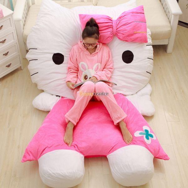 Fancytrader 200 см Х 150 см Прекрасный Мягкий Огромный Плюшевые Гигантский Розовый Hello Kitty Двуспальная Кровать Ковер Диван, Бесплатная доставка FT50313