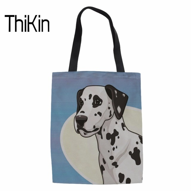 71169c60d2b8 US $8.53 39% OFF|THIKIN Women Large Capacity Foldable Shopping Bags Ladies  Dalmatian Printed Cute Canvas Tote Handbag for Females Beach Package-in ...
