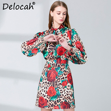 Delocah Autumn Women's Suit Runway Fashion Designer Long Sleeve Leopard Rose Flower Printed Skirt and Skirts Two 2 Pieces Set