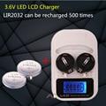 1 UNIDS cargador + 2PCSLIR2032, LIR2016 recargable LIR2025 LIR2032 3.6 V pila de botón, pantalla LED recargable, interfaz USB