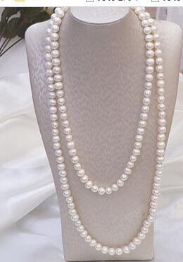 Livraison gratuite 1 pièces véritable collier de perles naturelles pour les femmes long type collier de perles blanches 9-10mm diamètre perles nearround
