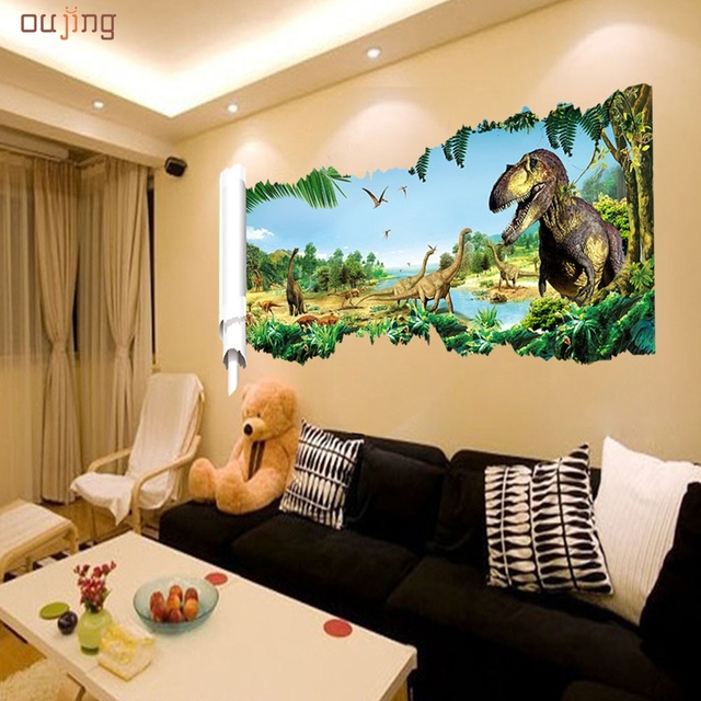 Oujing Happy home cartoon dinosaur world vinyl wall stickers for kids rooms boy living room DIY wall decals home decoration