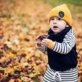 Новый Год 2 Шт. Девочка Мальчик Одежда Набор Infat дети С Капюшоном Одежды Дети Девушка С Капюшоном Полосатые Топы + Брюки 2 шт. Наряды одежда