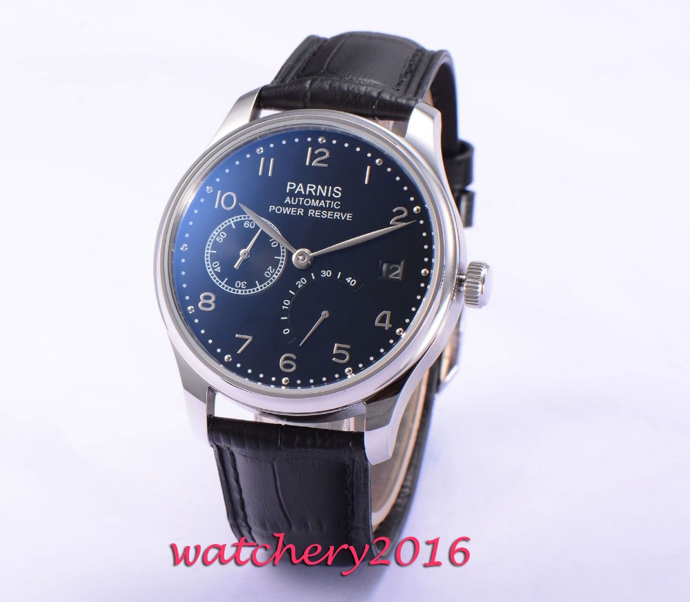 43mm Parnis black dial date power reserve ST 2530 Automatic mens watch43mm Parnis black dial date power reserve ST 2530 Automatic mens watch