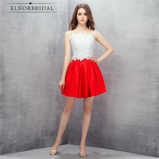 Rote Und Weiße Spitze Prom Kleider Kurze 2017 Vestido De Festa Curto ...