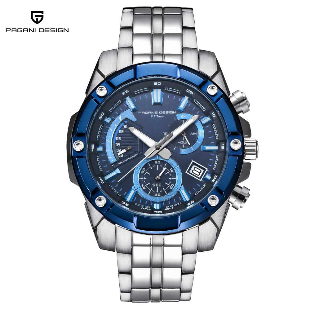 PAGANI DESIGN Luxury Brand Men Watches Full Steel Chronograph Quartz Wristwatches Mens Waterproof Sport Watch Clock reloj hombre цена