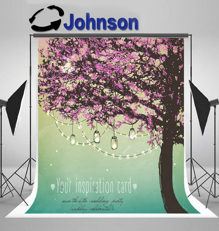 outdoor lights Pink Tree Decorative Party Garden backdrops Vinyl cloth High quality Computer print wedding background