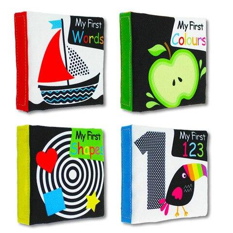 4 pcs set brinquedos do bebe livros de pano macio som carrinho de brinquedo chocalho