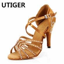 De satén zapatos de baile latino de bronce rojo de las mujeres de Salsa  fiesta zapatos de tacón alto 7 cm 8 cm 10 cm tango zapat. 1d5dac810f1a