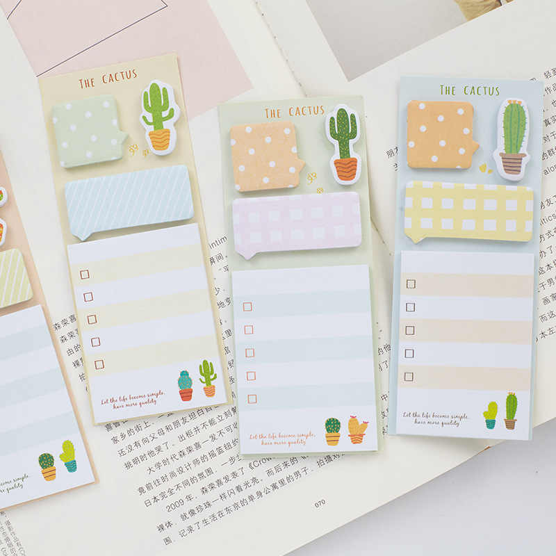 NOVERTY Cactus Cute Sticky Notes Stationery Kawaii Stickers Scrapbooking Papeleria Stickers planner Memo pads Planner