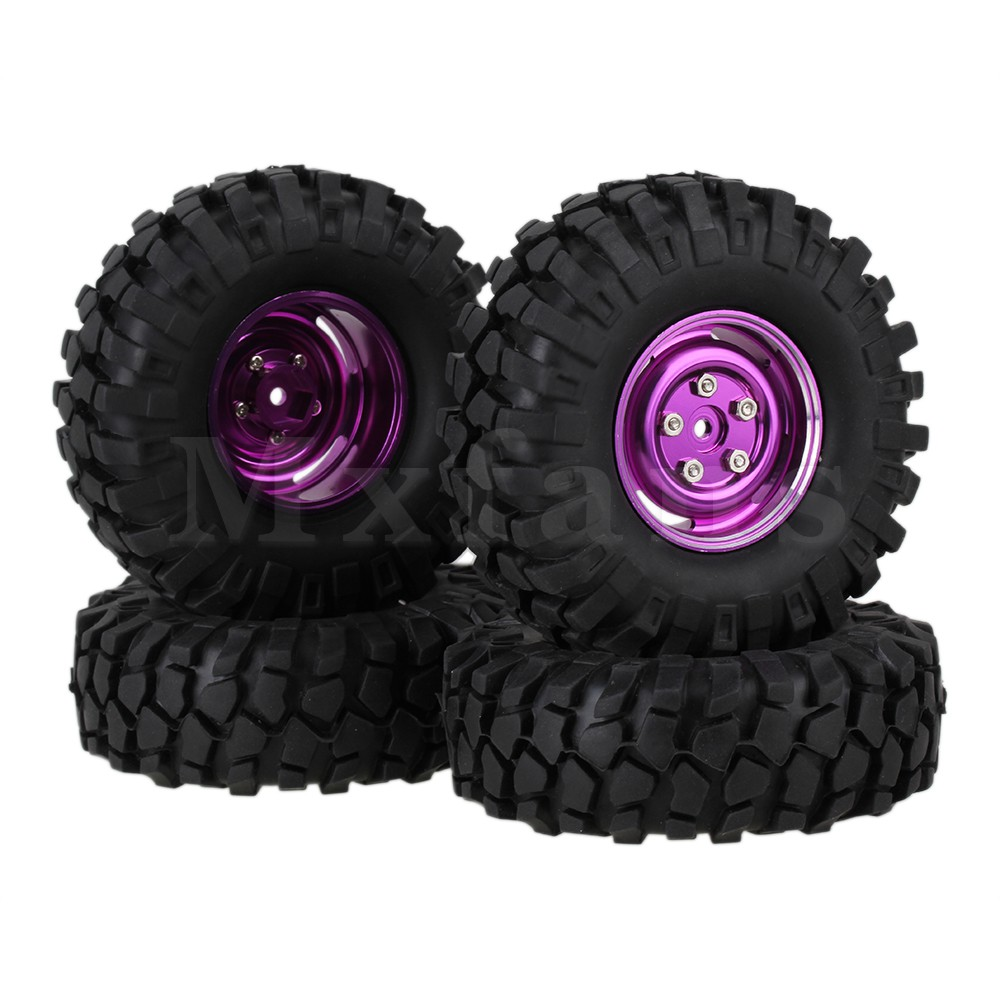 ФОТО Mxfans 4 x RC1:10 Rock Crawler Simulation Rubber Tyres Alloy Wheel Rims with Screws
