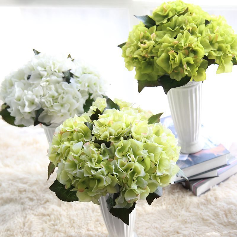 1pc 13 8 high branch artificial hydrangea flower with for Artificial leaves for decoration