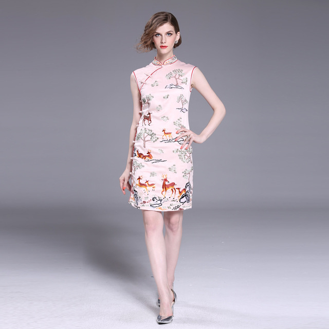 a83e0d48fbb1 Traditional Chinese Embroidery Mini Dress Cheongsam Women Vintage Short  Sleeve Velour Qipao Chinese Style Elegant Dress S-3XL