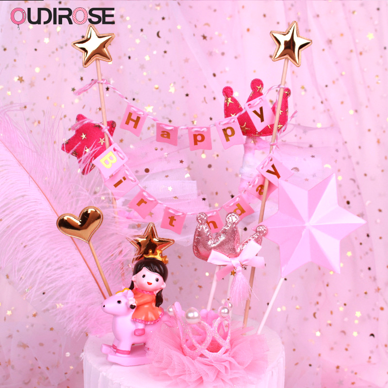 Creative Pink Hanging Flag Happy Birthday Cake Topper Girl/boy Toy Baking Cake Topper Fairy Princess Topper Wedding Supplies Cake Decorating Supplies