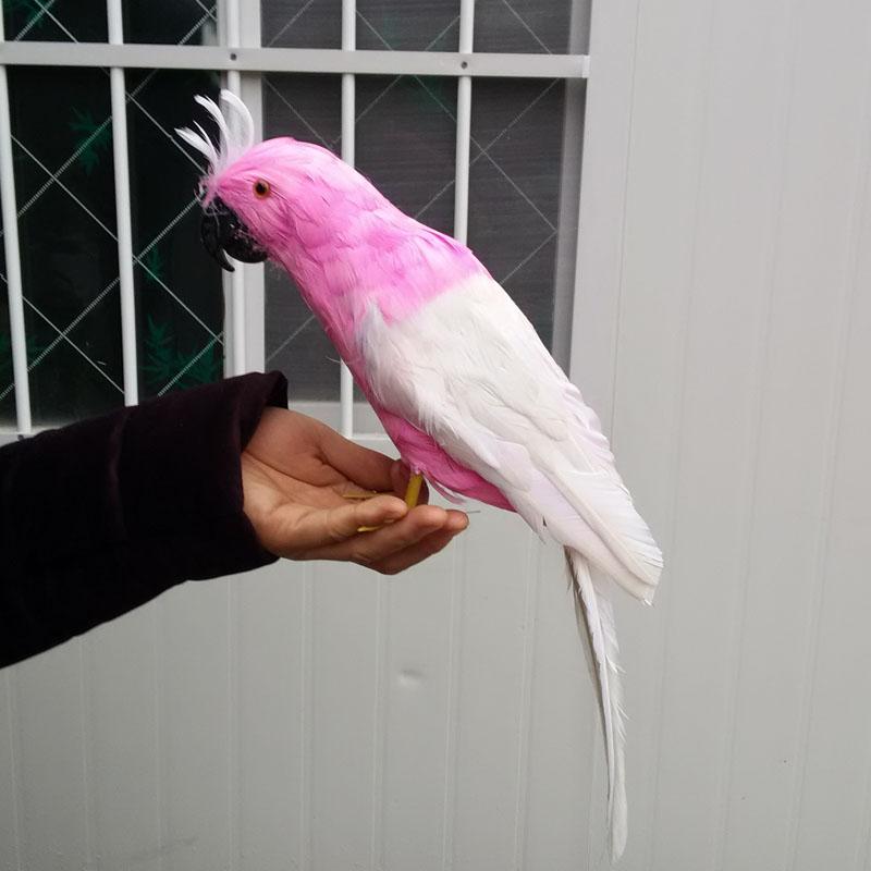 Sur 40 cm rose et blanc plumes perroquet oiseau, modèle à la main,  polyéthylène et plumes perroquet prop, décoration de la maison jouet cadeau  w3957 3470d55e3de6
