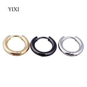 YIXI золотые серебряные черные маленькие обруч серьги huggie кольцо из нержавеющей стали серьги круглые модные серьги для женщин и мужчин ювели...