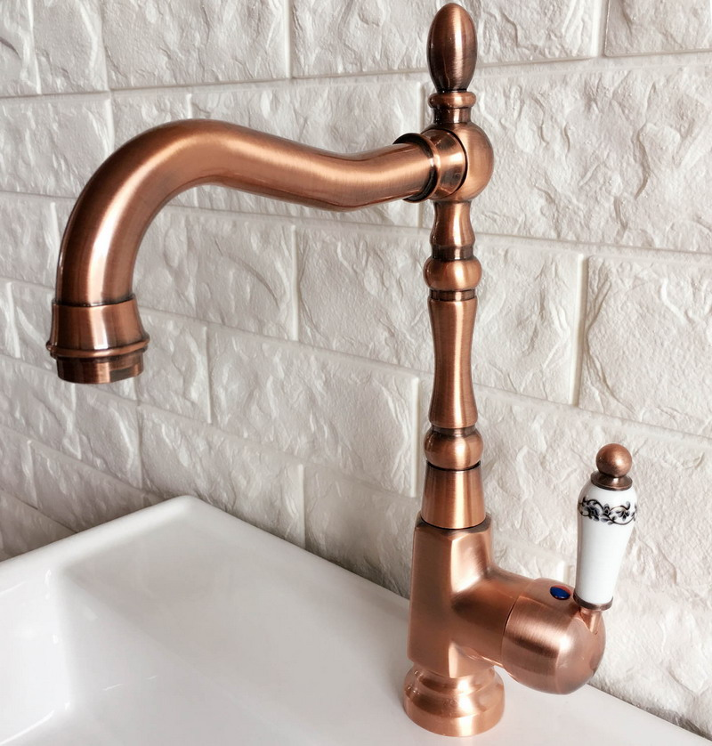 Antique Red Copper Brass Bathroom Kitchen Basin Sink Faucet Mixer Tap Swivel Spout Single Handle One Hole Deck Mounted Mnf418