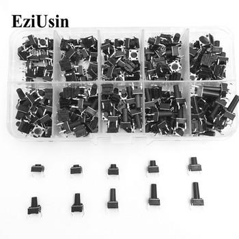 EziUsin 10 modeli 100 sztuk 6*6 przełączniki taktowe dotykowy zestaw przełączników wciskany wysokość 4 3MM ~ 13MM DIP 4P mikro przełącznik 6 #215 6 przełącznik kluczykowy tanie i dobre opinie ROHS 6 X 6 Z tworzywa sztucznego Mikroprzełącznik 6*6*4 3