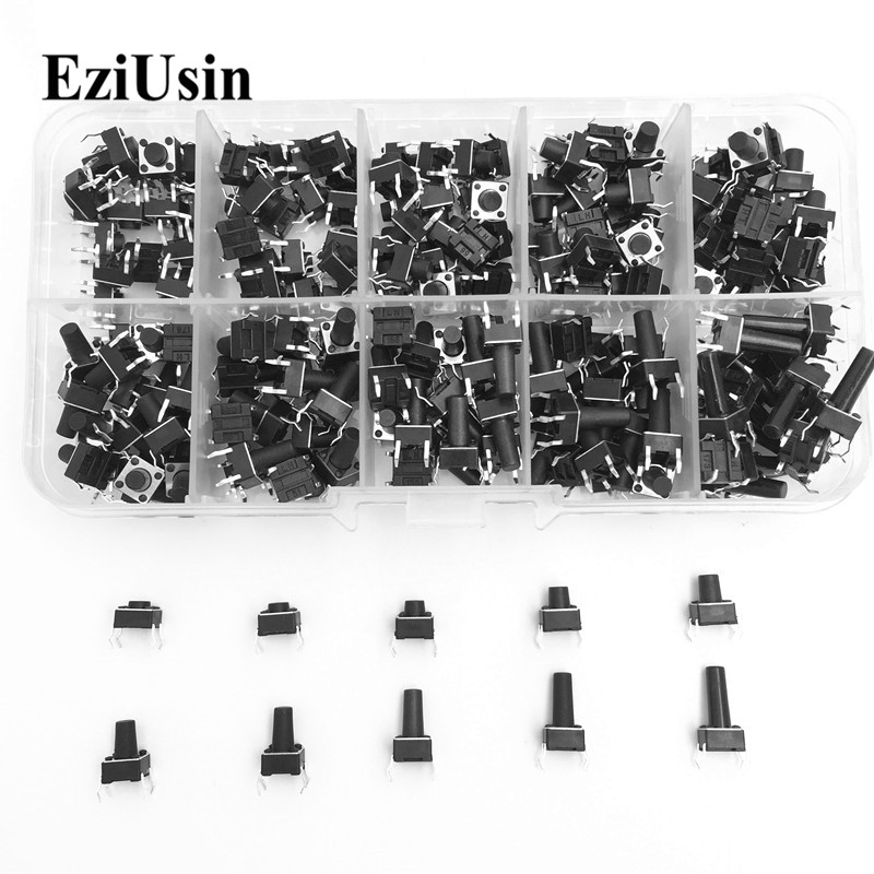 EziUsin 10 Models 100pcs 6*6 Tact Switch Tactile Push Button Switch Kit, Height: 4.3MM~13MM DIP 4P Micro Switch 6x6 Key Switch