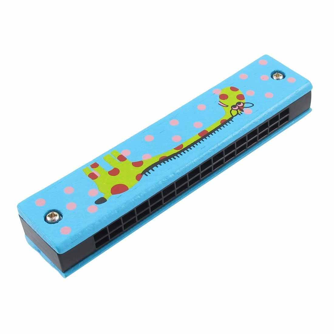 Holz Giraffen Muster Dual Reihen 32 Loch Kinder Mundharmonika Harmonika Blau