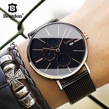 Роскошные мужские наручные часы Bestdon, импортные Кварцевые водонепроницаемые тонкие мужские часы из нержавеющей стали с месяцем