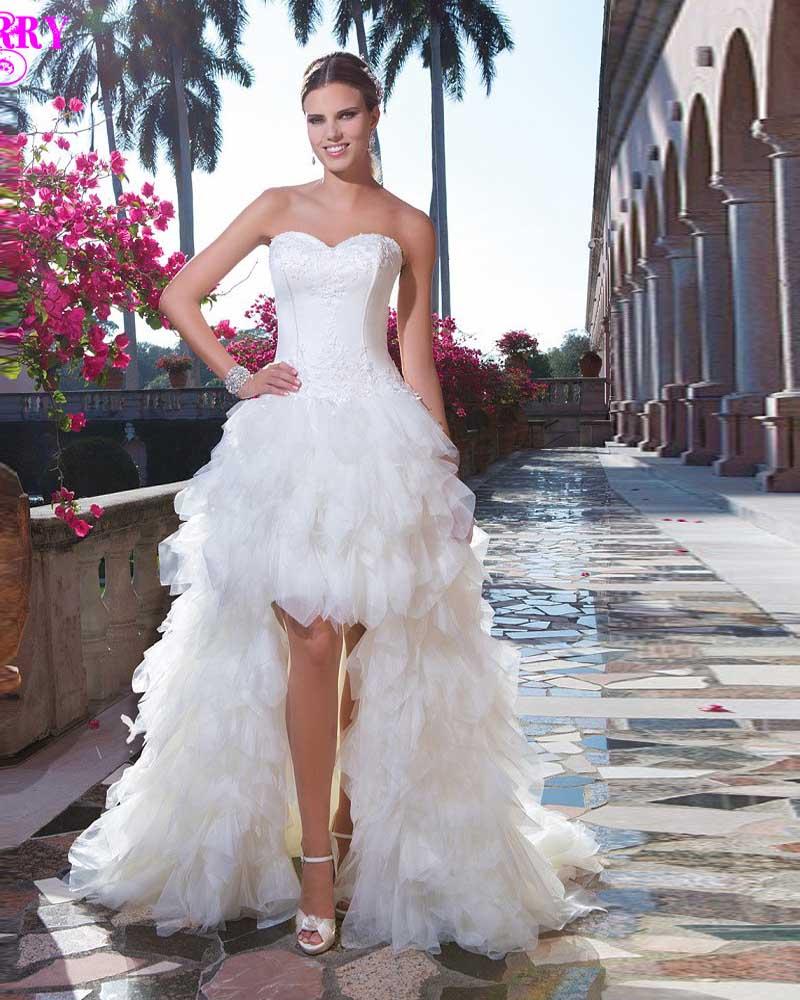 Vestido De Noiva Curto High Low Brides Tulle 2018 Corset Short Front Long Back Mother Of The Bride Dressesin Dresses: Corset Tulle Short Wedding Dresses At Reisefeber.org