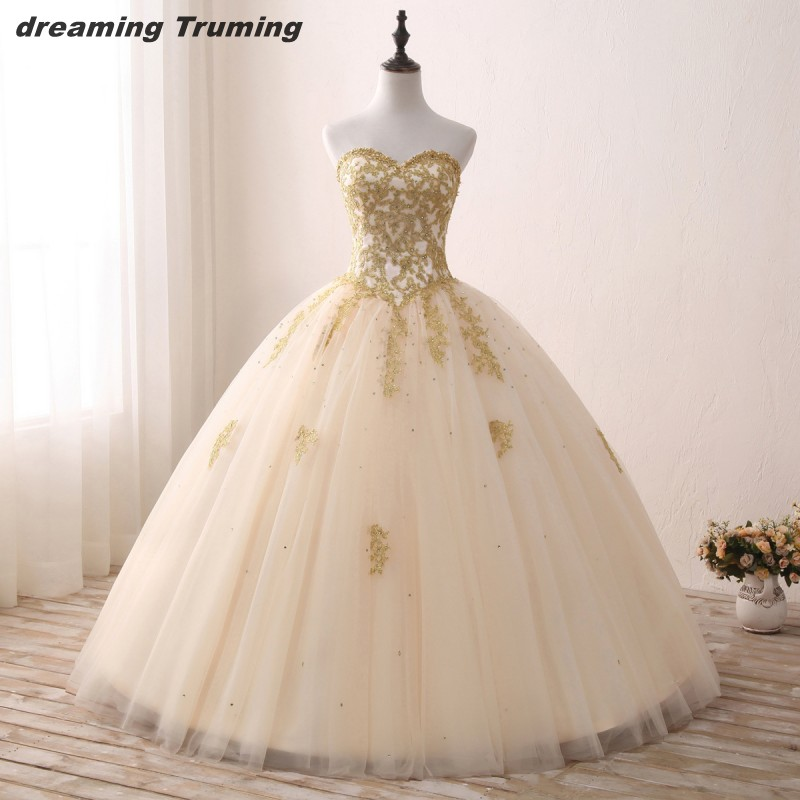 Real Images Ball Gown Gold Cheap Quinceanera Gowns Appliques Sweetheart Sleeveless Vestidos De 15 Anos Birthday Party Dress