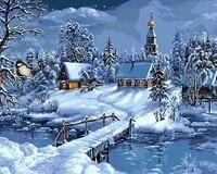 عيد الميلاد سنو المشهد diy الطلاء بواسطة أرقام مجموعات الرسم الطلاء بواسطة أرقام فريدة هدية عيد الطفولة