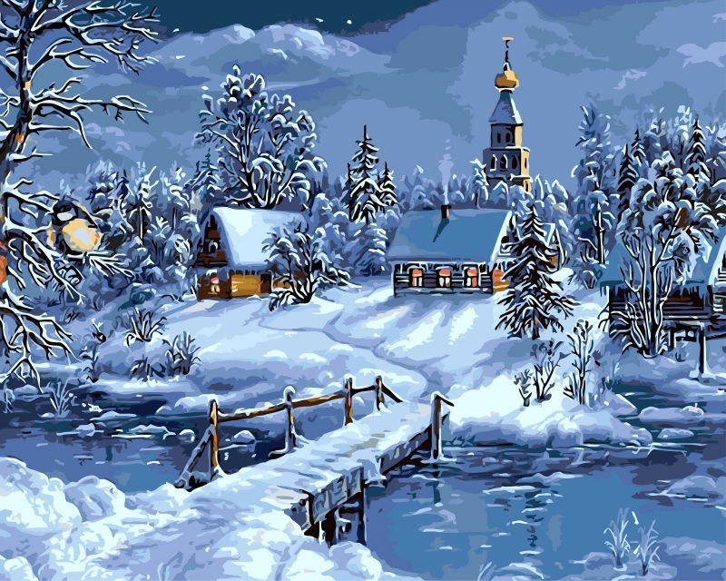 Christmas Snow Landscape DIY Painting By Numbers Kits Drawing Painting By Numbers Unique Christmas Gift For Childrens
