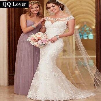 QQ Lover 2017 Lace Wedding Dress Court Train Appliques Mermaid Wedding Dress Elegant Bride Dresses Wedding Gown Vestido De Novia