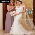 QQ Lover 2017 Lace Wedding Dress Court Train Appliques Mermaid Wedding Dress Elegant Bride Dresses Wedding Gown Vestido De Novia