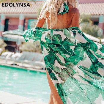 87da7d63477f Playa sombrilla chal vestido de baño Bikini cubierta vestidos de playa de  algodón ligero para ...