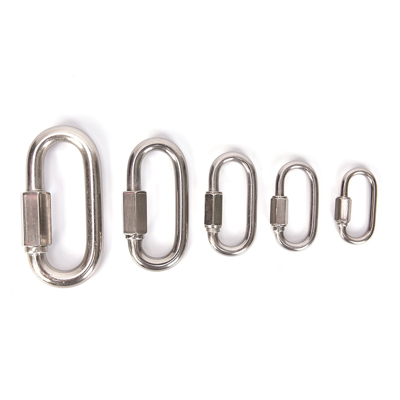 5 Sizes Climbing Gear Carabiner Quick Links Safety Snap Hook Climbing Safety Buckle Mountaineering Stainless Steel Screw Lock