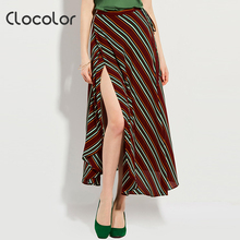 Clocolor Women Skirt 2018 Spring Summer Mid-Calf Color Block Red Yellow Fashion Female Girls Casual Lace-Up Skirt women Skirt