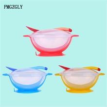 Миска для еды с чувствительной температурой, Обучающие Детские блюда с присоской, ложка для кормления, миска для кормления детей, детская посуда